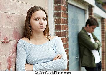 urbano, par adolescente, infeliz, armando, retrato