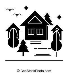 urbano, parque, icono, vector, ilustración, señal, en, aislado, plano de fondo