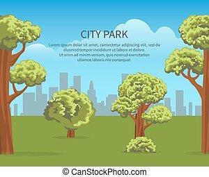 urbano, parque, paisaje, cartel