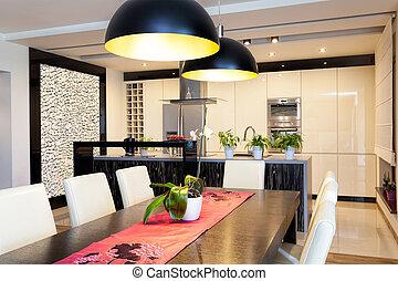 urbano, pietra, appartamento, parete, -, cucina