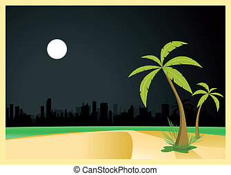 urbano, playa, por, noche