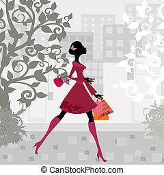 urbano, ragazza, shopping