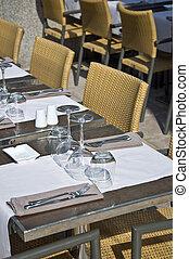 urbano, restaurant., escena, eating., utensilios, tabla,...