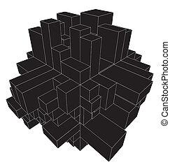 urbano, resumen, cubo, cajas, ciudad