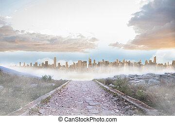 urbano, roccioso, sdraiarsi, condurre, grande, percorso