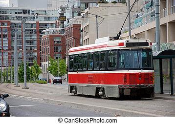 urbano, rojo, paisaje, tram.