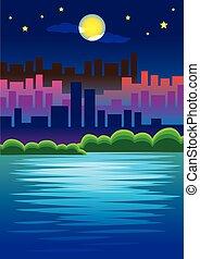 urbano, romanticos, cena cidade, ilustração, luar, skyline, vetorial