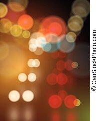 urbano, rua, abstratos, luzes, obscurecido, bokeh, vetorial