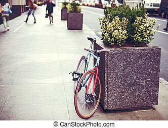 urbano, rua, bicicleta, estacionado
