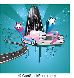 urbano, salto cadera, ilustración