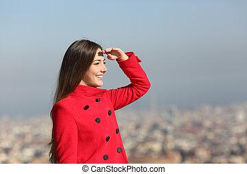 urbano, scouting, mulher, inverno, fundo, feliz
