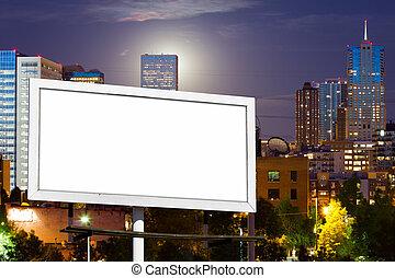 urbano, señal, cartelera, publicidad, blanco, cityscape