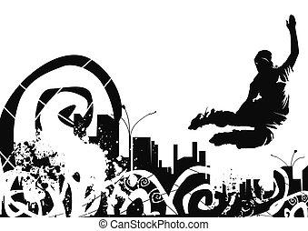 urbano, selva, rollerblade