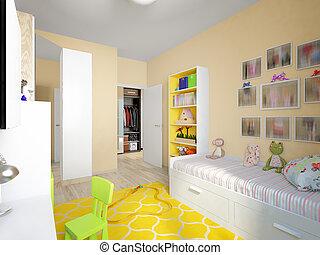 urbano, stanza, contemporaneo moderno, disegno, interno, bambini