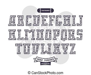 urbano, stile, struttura, rettangolare, serif, graffito, font
