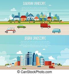 urbano, suburbano, set, bandiera, paesaggio, cartone animato, cityscape, -, appartamento, moderno