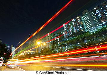 urbano, tráfego, à noite