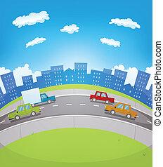 urbano, tráfego, caricatura