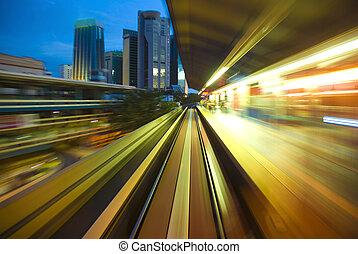 urbano, tráfico, noche