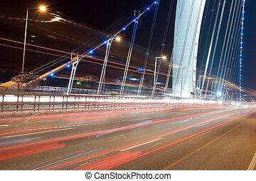 urbano, traffico, notte