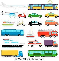 urbano, transporte, coloreado, ciudad, vector, transporte, illustration.