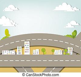 urbano, vector, applique., paisaje.
