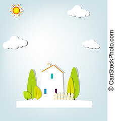 urbano, vector, applique., paisaje.