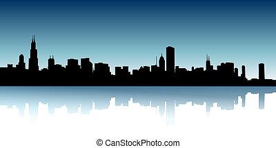 urbano, vector, contornos, ilustración