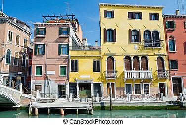 urbano, Veneza, típico, vista
