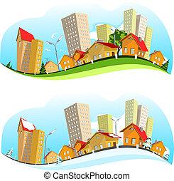 urbano, vetorial, paisagem, ilustração