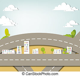 urbano, vettore, applique., paesaggio.