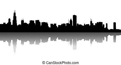 urbano, vettore, skylines, illustrazione