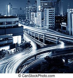 urbano, viaducto, moderno, noche