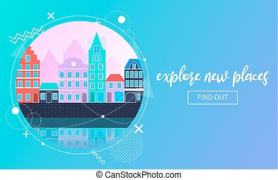 urbano, viaggiare, vettore, bandiera, paesaggio
