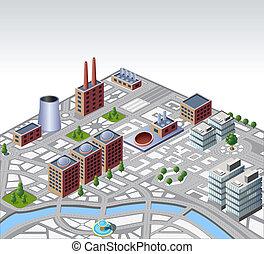 urbano, y, industrial, edificios