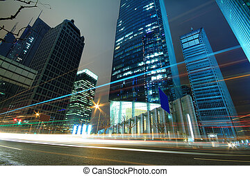 urbano, zona,  finance&trade,  lujiazui, modernos, fundos, arquitetura, noturna, paisagem