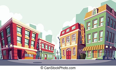 urbano, zona, illustrazione, storico, vettore, cartone ...