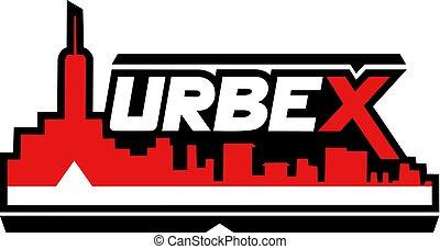 urbex, rosso, icona