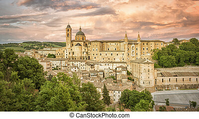 Urbino Marche Italy at evening time