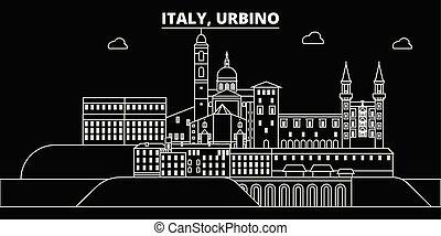 Urbino silhouette skyline. Italy - Urbino vector city, italian linear architecture, buildings. Urbino travel illustration, outline landmarks. Italy flat icons, italian line banner