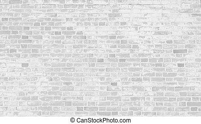 urblekt, vita tegelsten, vägg, bakgrund.