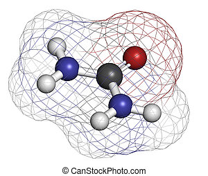 Urea (carbamide) molecule. Used in cosmetics, fertilizer; presen