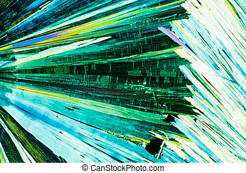 Urea or carbamide crystals in polarized light - Colorful...