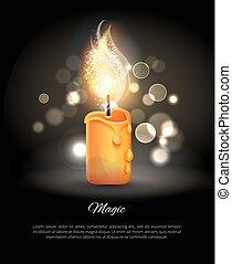 urente, candela, in, realistico, disegno, vettore, icona
