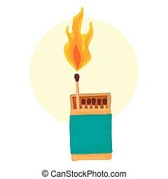 urente, fire., fiammiferi, match., scatola