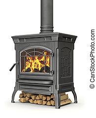 urente, fuoco, stufa, legno, fiamma, fondo, bianco