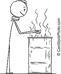 urente, fuoco, su, vettore, senzatetto, barile, cartone ...