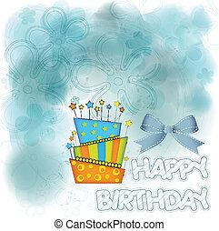 urente, grande, compleanno, vettore, Candele, torta