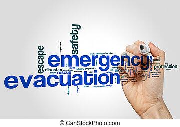 urgence, évacuation, mot, nuage, concept, sur, gris, fond