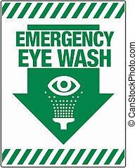 urgence, 10, mur, laver, oeil, eps, illustration, vecteur,...